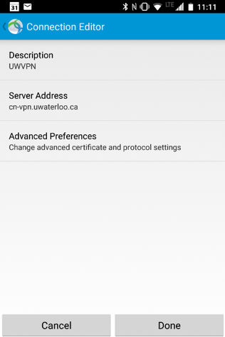 AnyConnect app - advanced preferences